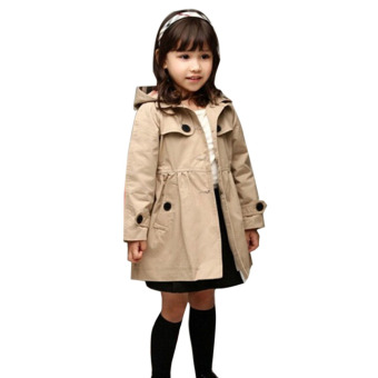 Girls Trench Coat Kids Winter Jacket Windbreaker Outerwear (khaki) - intl