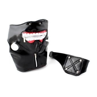 Halloween PU Leather Tokyo Ghoul Kaneki Ken Cosplay Mask PropsAdjustable Zipper Mask Eye Patch (Black) - Intl