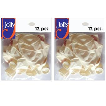 Happy Birthday Balloons 12`s White Set of 2