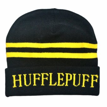Harry Potter Hufflepuff Cosplay Bonnet Warm Hat Logo Name