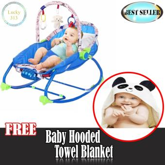 Infant To Toddler Baby Rocker Blue with Baby Hooded Towel Panda