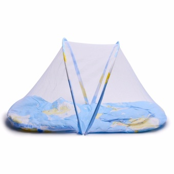J&A Folding Newborn Baby Bed With Pillow Mat Net - Aqua Blue