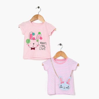jusTees Baby Girls 2-Piece Bunny Print And Faux-Bag Tee Set (6M)