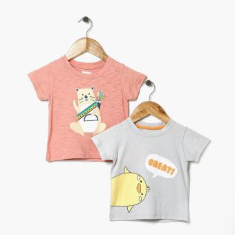 jusTees Girls Tribal Bear And Great Chicken Tee Set (12M)