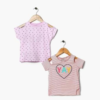 jusTees Girls Yay Roses Cold-Shoulder Tee Set (3T)