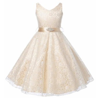 Kids Girls Lace Sleeveless Elegant Princess Birthday Party Dress -intl