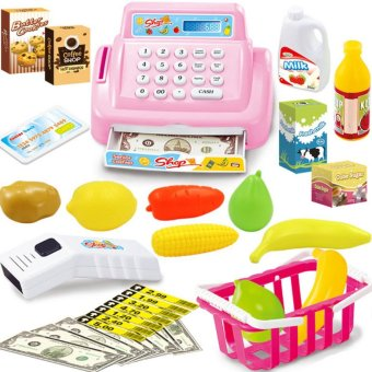 LT365 Kids House Toy Mini Store Shop Cash Register Kit Toy Pretend & Play Playset - Pink - intl