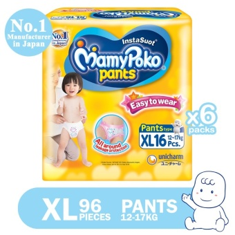 MamyPoko Pants Easy to Wear Diaper XL 16's, Pack of 6