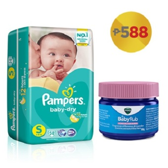 Pampers Baby Dry Taped Diaper Small 58's with Vicks Baby Rub 50g