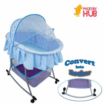 PHub WyonBaby Baby Cradle Bed Crib Rocker with Storage Basket BLUE