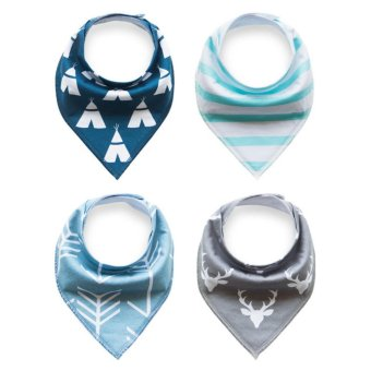 Unisex 4 pcs Cotton Triangle Baby Bibs Feeding Saliva Dribble Towel - intl
