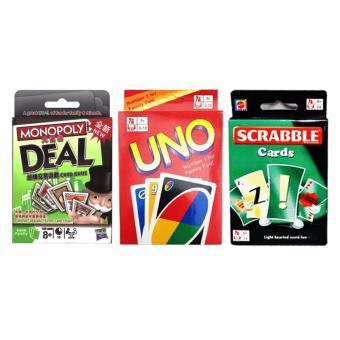UNO Monopoly Deal Scrabble Fun Cards Game for Family Bundle