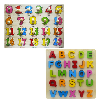 Wooden Learning Alphabet Toys and Wooden Numbers Set of 2