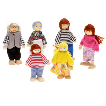 YBC Wooden Miniature Dollhouse Toys Set 6 Dolls Pretend Play Toy -intl