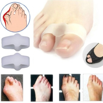 2 Holes Pain Relief Bunion Hallux Valgus Foot Toe Gel SeparatorsStretchers Straightener Feet Care Health Care Product,White - intl