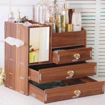 4Layers Desktop Box with Mirror and 3Drawers Cosmetic Make upRemovable Organizer Jewelry