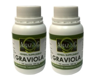 Amazing Food Supplement Graviola 500mg Capsules Bottle of 100 Setof 2