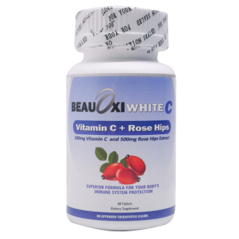 BeauOxi White C 500mg Rosehips and 500mg Vitamin C Bottle of 60
