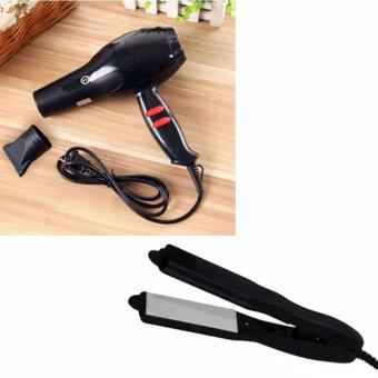Chenye Super Professional Hair Dryer (Black) With Mini Curling IronStraight Hair Ceramic Flat Iron Perm Electric Splint (Black)