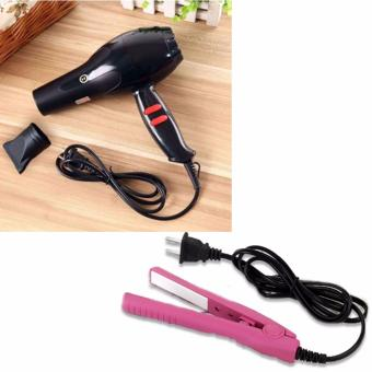 Chenye Super Professional Hair Dryer (Black) With Mini Curling IronStraight Hair Ceramic Flat Iron Perm Electric Splint (Pink)