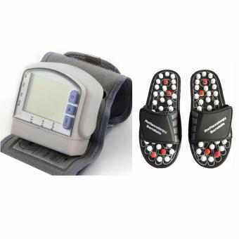 Digital LCD Wrist Cuff Arm Blood Pressure Monitor Heart Beat MeterMachine with Acupuncture Foot Reflex Massage Slippers