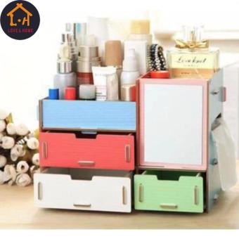 LOVE&HOME Wooden Cosmetic Make Up Jewelry Box Storage Organizer with Mirror and 3 Drawers (Multicolor)