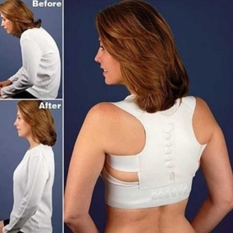 Moonar Adjustable Magnetic Posture Support Corrector Back Pain Brace Belt ( white+M ) - intl
