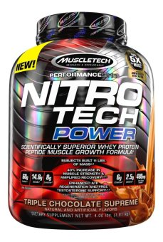 MuscleTech Nitro Tech Power Powder, Superior Whey Protein PeptideMuscle Growth Formula, Triple Chocolate Supreme, 4 lbs