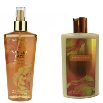 Queen's Secret Vanilla Lace Body Mist 250ml T Type with Queen'sSecret Pure Vanilla Lace Hydrating Body Lotion 250ml Bundle