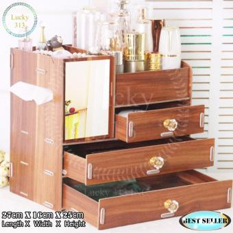 Wooden Cosmetic Make Up Jewelry Box Storage Organizer Large Size(Brown)