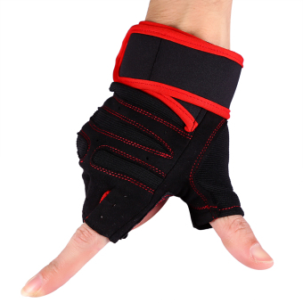 2 Pcs Weight Lifting Gym Training Fitness Gloves(Red/M) - intl