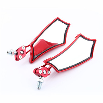 8mm 10mm Universal Motorcycle Motor Scooter Bike Rear View Side Mirrors(Red)