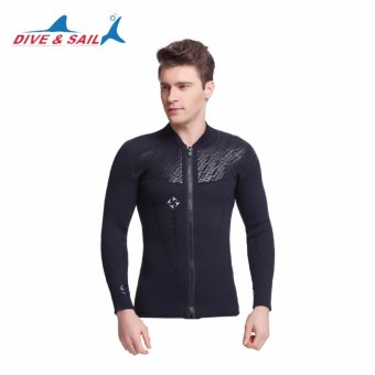 Dive&Sail 3MM Neoprene Long Sleeved Diving Suit For Men Wetsuit Scuba Dive Jacket Wet Suit Top Winter Swim Warm Surf Upstream - intl