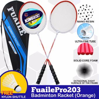 Fuaile Pro 203 Badminton Rackets (Orange) and Casebag withShuttlecock