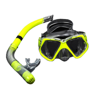 GETEK Scuba Diving Equipment Dive Mask + Dry Snorkel Set ScubaSnorkeling Gear Kit (Yellow)