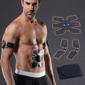 GOOD Wireless Intelligent Abdominal Muscle Toner Body Toning Muscle Training Belt Black & Orange - intl