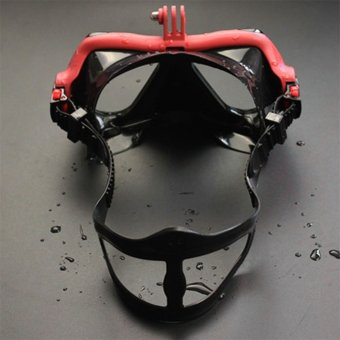 OH Underwater Camera Plain Diving Mask Scuba Snorkel Swimming Goggles for GoPro red