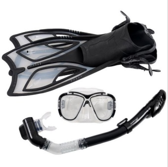 Scuba Diving Equipment Sets Underwater Diving Mask Full DrySnorkeling Gel Myopia Diving glasses Diving Mask+Snorkel+Fins(SIZE: S) - intl