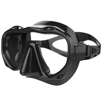 Whales One-Piece Silicone Scuba Diving Equipment Swimming Goggles Freediving Dive Mask(Black)