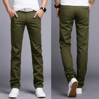 2017 Men Business Casual Slim Fit Pants Mid-Waist Solid Trousers Fashion Mens Straight Cargo Pants Male Chino Lightweight -Army Green - intl