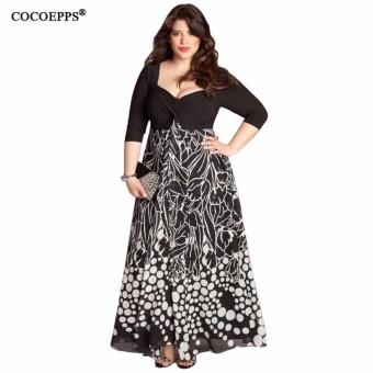 2017 Spring Women Dress Large Big Plus Size Square Collar Sexy Print Party Dresses Fashion Casual Dress Vestidos 5XL Clothing - intl