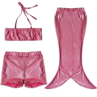 3 Pcs Girl Kids Little Mermaid Tail Swimmable Bikini SwimmingCostume Swimsuit (Pink) - Intl