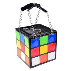 360DSC Womens Novelty Cute Magic Cube Shape PU Leahter Handbag Tote Bag Makeup Purse - Intl