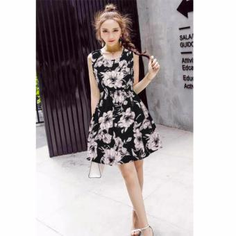 #838 Black and White Floral Print Korean Sleeveless A-Line Dress