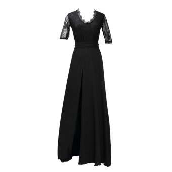 Acecharming Sexy Womens V-Neck Sleeve Long Bodycon Prom Ball Cocktail Formal Party Dress (Black) - Intl