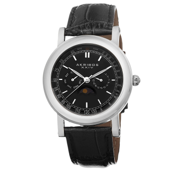 Akribos XXIV Men's Black Leather Strap Watch AK632SSB