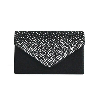 Amart Simple Fashion Women Messenger Bags Rhinestone Decoration Chain Handbag Party Clutch Bag - intl