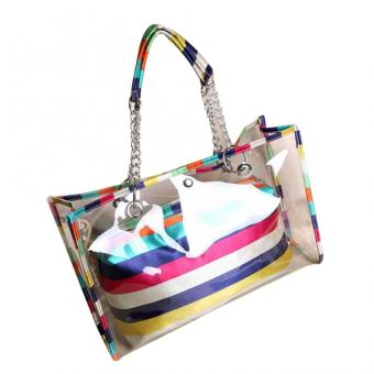 Amart Women Handbag Transparent Stripe/Flag/Dot Painting Shoulder Beach Bag PVC Tote Bags