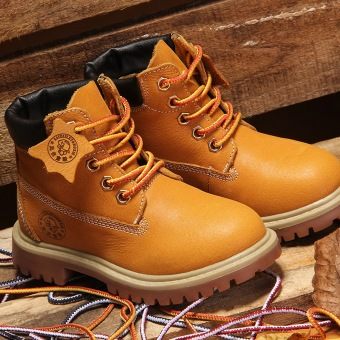 Autumn Winter Children's Shoes Korean Style Leather Snow Boots WarmMartin Boots For Kids/Girls/Boys (Yellow)