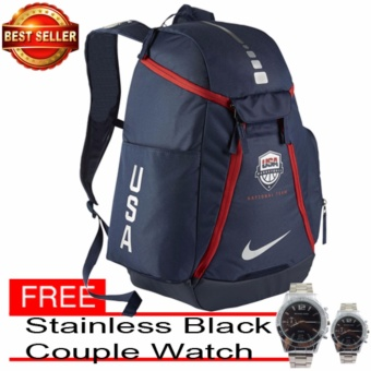 Backpack Nike Hoops Elite Max Air Team 2.0 (Blue/Red) With Free Couple Watch Stainless Black